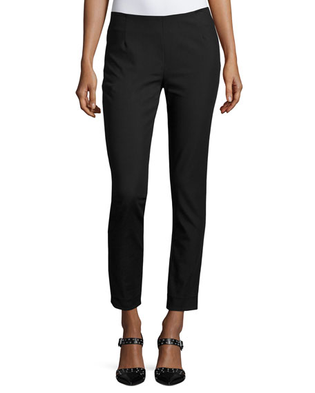 Lela Rose Catherine Slim-Leg Ankle Pants, Black
