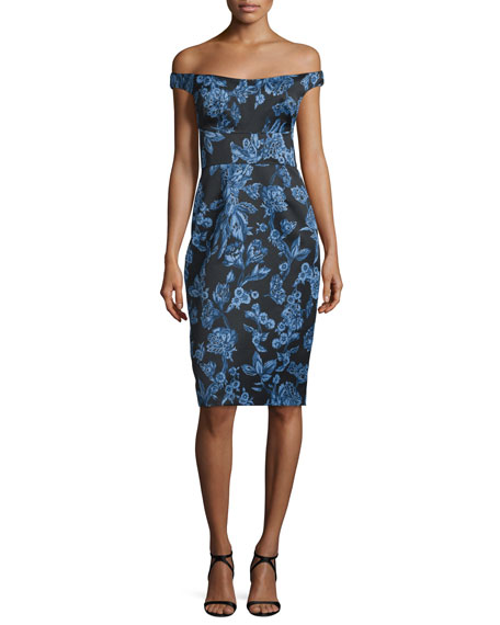 Lela Rose Off-The-Shoulder Floral-Print Sheath Dress, Blue