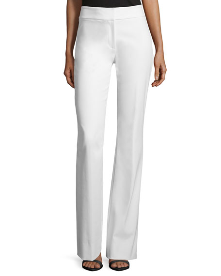 Lela Rose Sam Flare-Leg Twill Pants, White