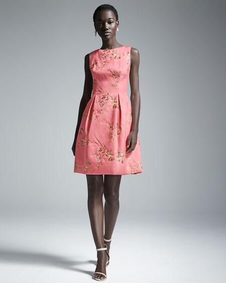 Betsy Full-Skirt Sheath Dress, Pink/Orange