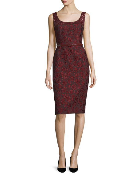 Sleeveless Embellished Sheath Dress W/Belt, Marsala