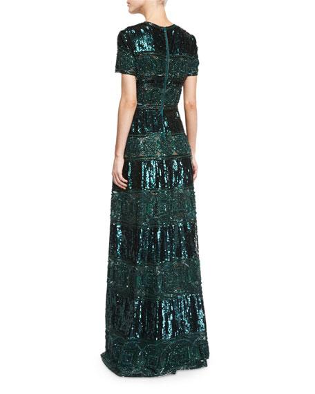 Short-Sleeve Embellished Cocktail Gown, Bottle