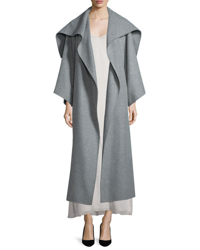 Lanja Shawl-Collar Belted Coat, Light Graphite