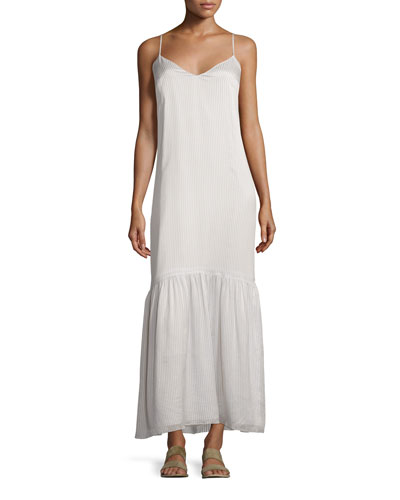 Morin Striped Camisole Maxi Dress, Chalk/Navy