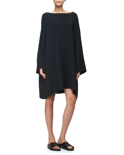 Tharpe Long-Sleeve Easy Dress, Black