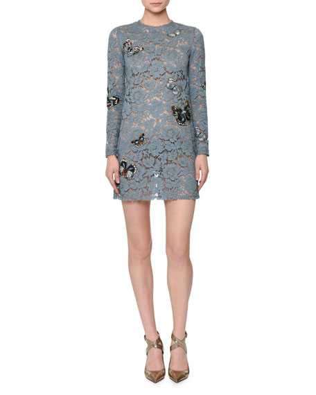 Valentino Butterfly-Embellished Lace Mini Dress, Pale Blue