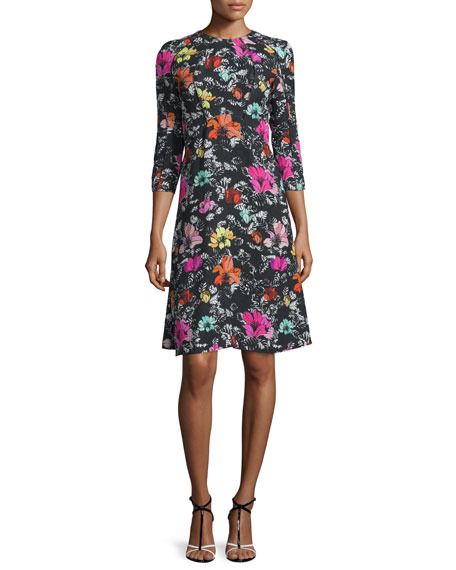 Oscar de la Renta 3/4-Sleeve Poppy-Print Dress, Black/Multi