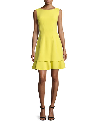 Sleeveless Layered-Hem Dress, Citron