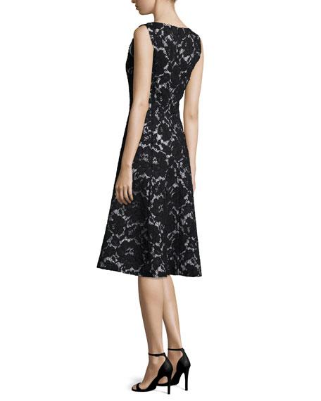 Sleeveless V-Neck Lace Cocktail Dress, Black/Citron