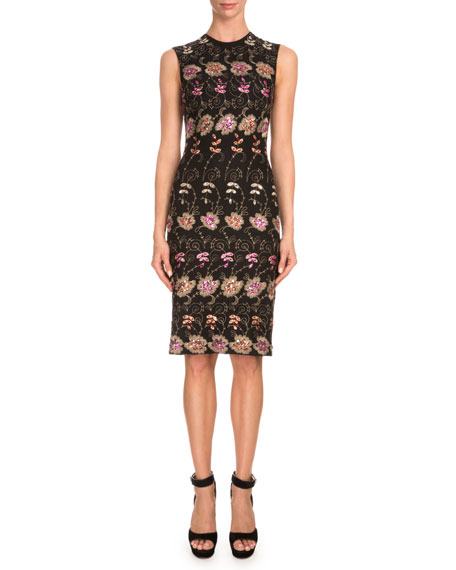 Givenchy Sleeveless Floral-Embroidered Sheath Dress, Black