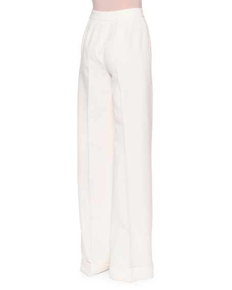 Pleated-Front Wide-Leg Wool Pants, Ivory