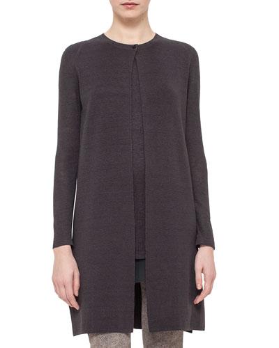 Long-Sleeve Open-Front Linen/Silk Knit Coat, Elephant