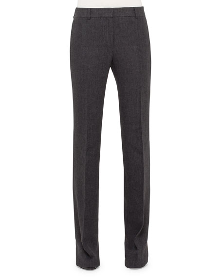 Akris Flat-Front Boot-Cut Pants, Elephant