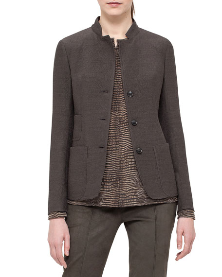 Akris Single-Breasted Mock-Neck Jacket, Turtle