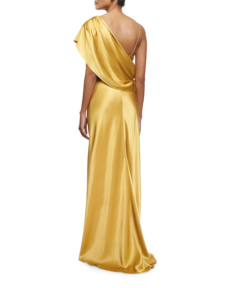 Draped One-Shoulder Silk Gown, Gold