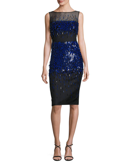 Sleeveless Fringe-Paillettes Midi Dress, Black/Lapis