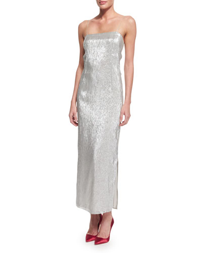 Sleeveless Metallic Column Gown, Silver