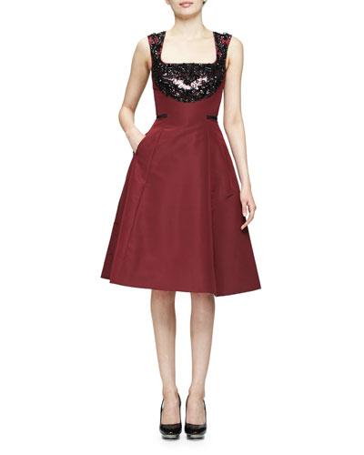 Sleeveless Embellished Fit-&-Flare Dress, Bordeaux