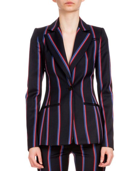 Altuzarra Acacia One-Button Striped Blazer, Navy/Tango