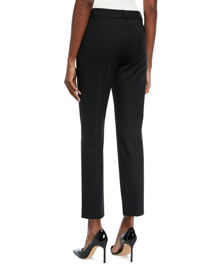 Classic Slim-Leg Ankle Pants, Black