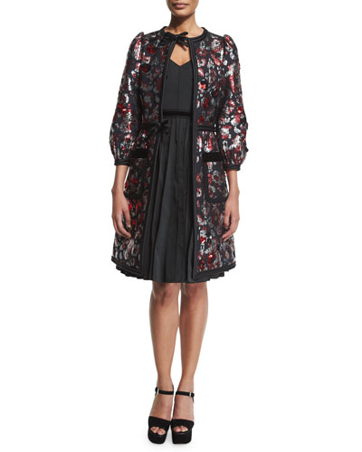 Sequined-Floral Velvet-Trim Coat, Red