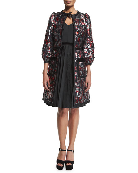 Marc Jacobs Sequined-Floral Velvet-Trim Coat, Red