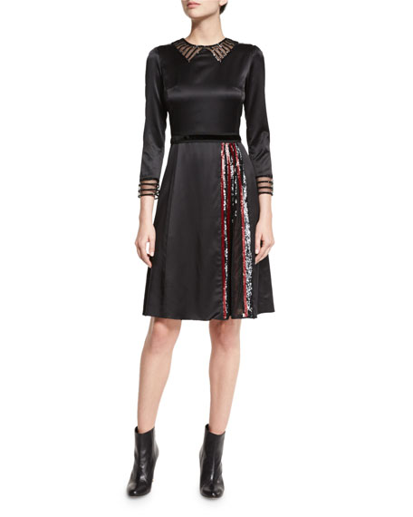 Marc Jacobs 3/4-Sleeve Embellished A-Line Dress, Black