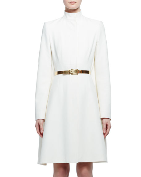 Alexander McQueen Long-Sleeve Mock-Neck Cape Jacket, Silk White