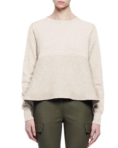 Cashmere Long-Sleeve Flounce-Hem Sweater, Ivory