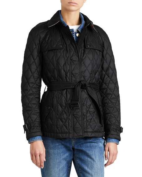 Burberry Finsbridge Hooded Quilted Short Jacket, Black