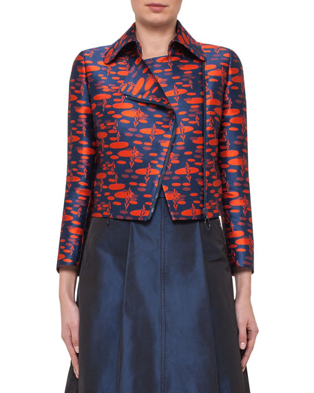 Akris punto The Oval Moto Cropped Jacket, Navy/Rust