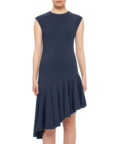 Cap-Sleeve Asymmetric-Hem Dress, Tarn