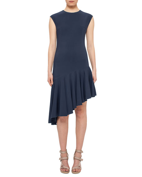 Akris punto Cap-Sleeve Asymmetric-Hem Dress, Tarn