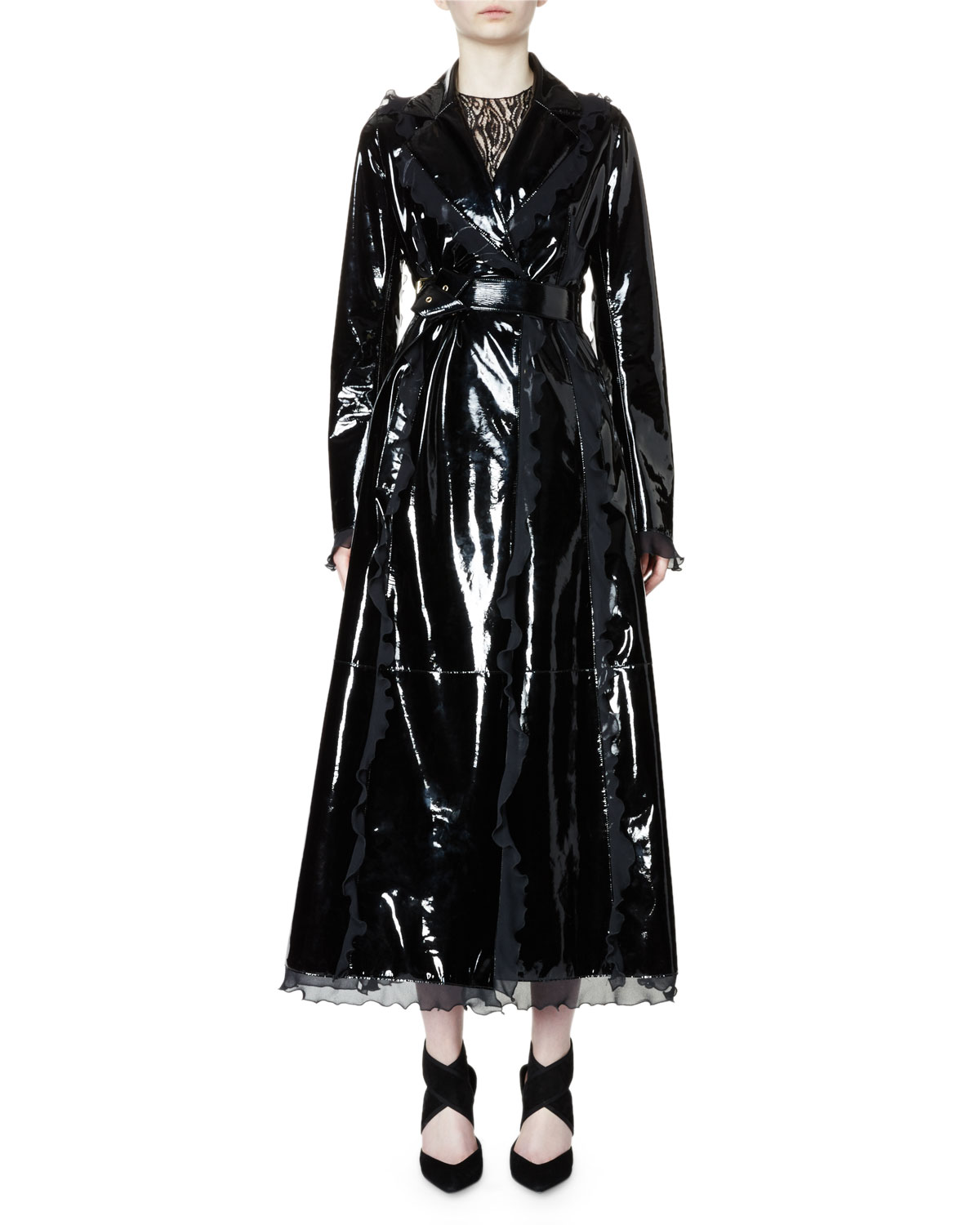 adddab10b0f8 Lanvin Belted Patent-Leather Trench Coat W Ruffle Trim