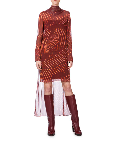 Akris Long-Sleeve Zebra-Print Tunic Dress, Mangosteen