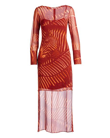 Long-Sleeve Zebra-Print Tunic Dress, Mangosteen