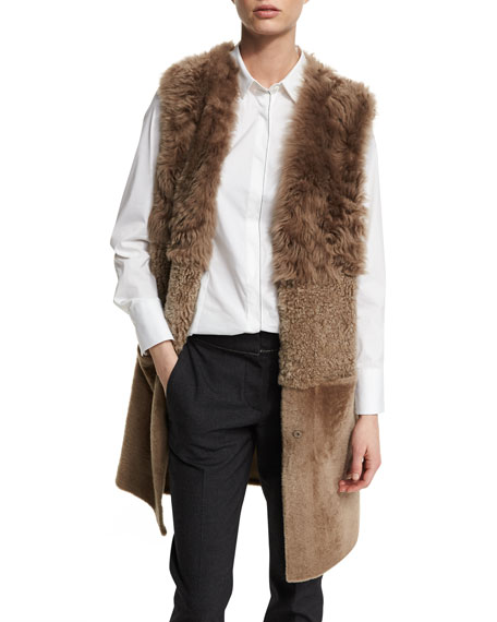 Mixed-Shearling Fur Long Vest, Bark