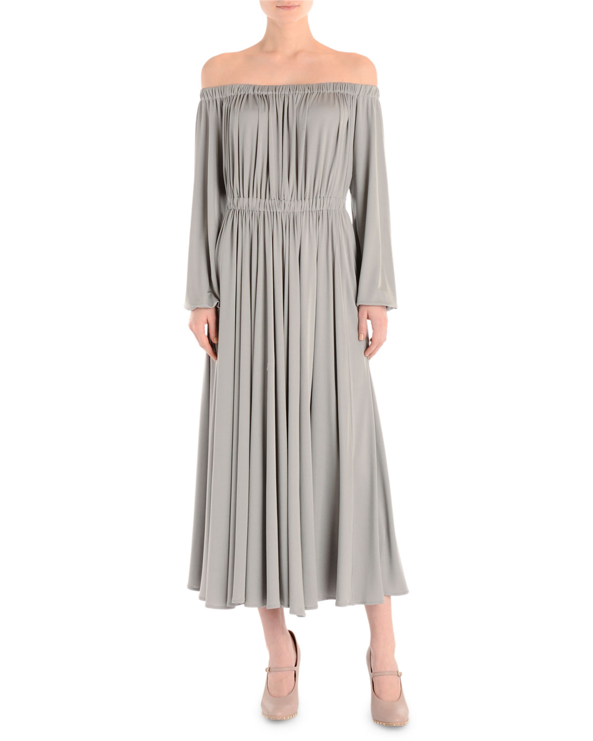 Valentino Off-The-Shoulder Long-Sleeve Midi Dress, Arctic Blue ...