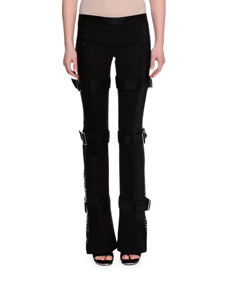 Three-Buckle Lace-Inset Tuxedo Pants, Black