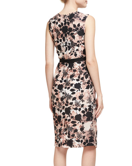 Pleated Floral Sleeveless Dress, Dusty Rose