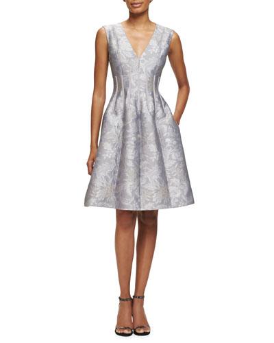 Flora-Jacquard Sleeveless V-Neck Dress, Dove