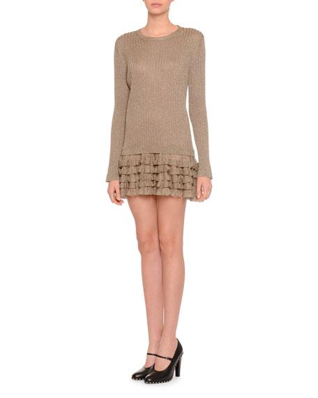 Long-Sleeve Metallic Ruffle-Hem Dress, Gold