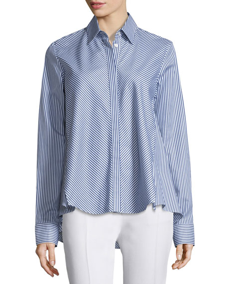 Adam Lippes Embroidered Striped Long-Sleeve Blouse