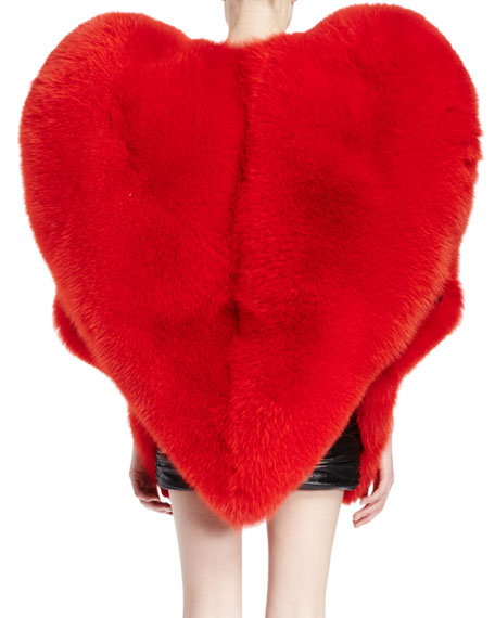 Heart-Shaped Fur Cape, Red