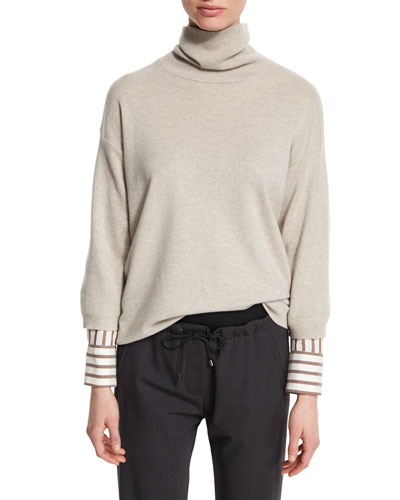 Striped-Trim Turtleneck Cashmere Sweater, Seasalt