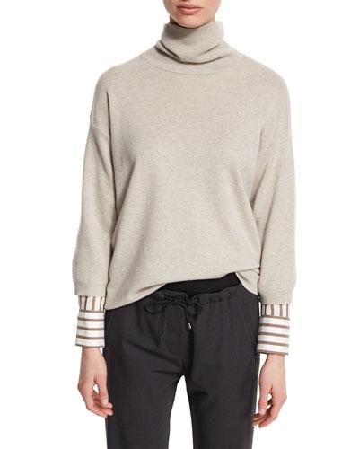 Striped-Trim Turtleneck Cashmere Sweater, Seasalt