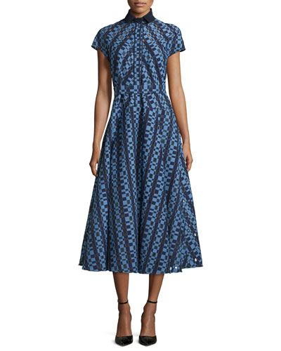 Check Fil Coupe Belted Shirtdress, Navy/Periwinkle
