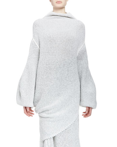 Fluid Speckle-Knit Mock-Neck Sweater, Cream