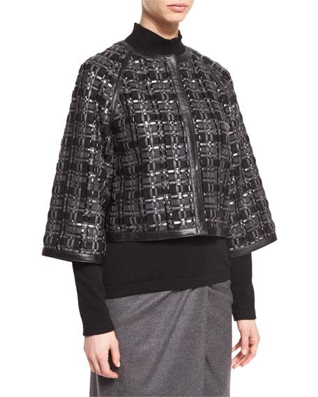 Escada Woven Leather & Flannel Jacket, Flannel