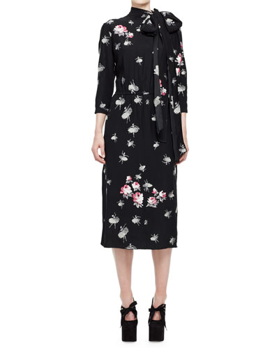 Ballerina-Print 3/4-Sleeve Tie-Collar Dress, Multi